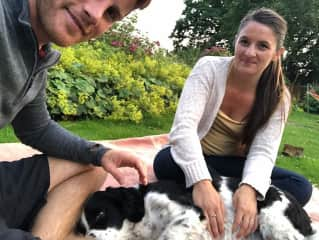 Ashley and Kody with the family pet at our WWOOF in Darlington, England.