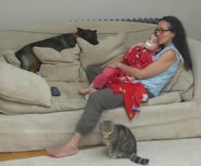 Lara and I having a cuddle with Mya and Echo