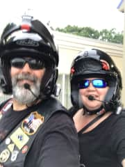 Gregg and Debra traveling by motorcycle