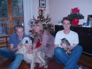 family Christmas a few years ago: me with my sons Sam and Josh, dog Tess and cat Molly