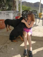 Vanessa with 2 of our 4 Rottie charges in the Caribbean