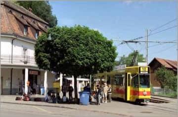 Flüh Bahnhof (5min walk, reaches Basel SBB in 35min)