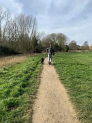 Ollie and James walking by the River Waveney.