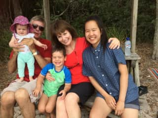 We have family spread across Australia and British Columbia, Canada. Here we are with daughter Julia, and Larry's grandchildren who live with their parents in Squamish, Canada.
