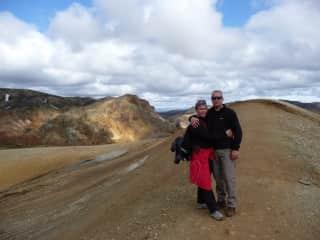 Here we are walking in Landmannalaugar in Iceland