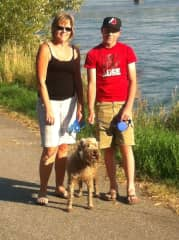 Myself, my son, and our four legged love.  We LOVED to go for walks!