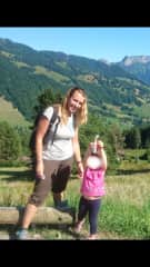My daughter and I in the mountains