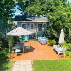 View of backyard and studio