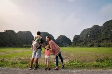 Andy, Eileen, Rowan and Murphy enjoying the scenery in Tam Coc, Vietnam!