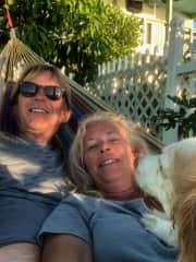 Scott, Cadeau, and I chillin' in the hammock.