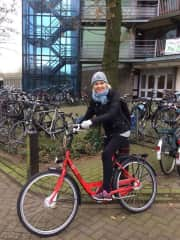 Biking in Amsterdam.