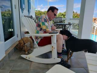 Gary with Vinny and Fifi at our sit in St. Croix, USVI