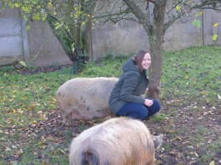 Me and my two pigs Jacobus and George