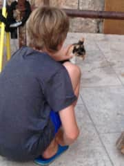 With a favorite community kitty during our time in Croatia