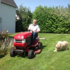 Cutting the grass at a sit with large lawns.