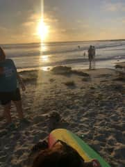 Surfing in OB during sunset