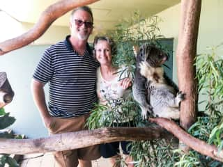 Ian and Karen visiting a wildlife sanctuary in Tasmania