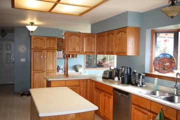 A large, bright kitchen
