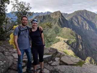 My husband and I hiking to Machu Picchu in Peru!