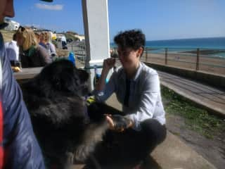 Janelle with Anoushka (our friend Jim's dog)
