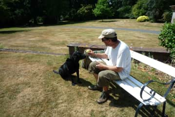 Greg and Misty having a break from the gardening to have a game of catch the ball