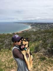 Kendall and Lu on a hike
