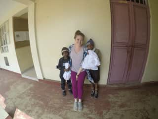Two of our sponsored boys at school with Nancy