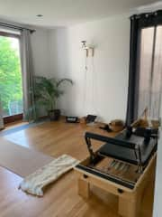 Workout studio with pilates reformer