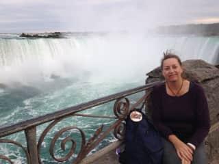 The Power of a waterfall and travelling with Mooie on my backpack.  Niagara Falls, USA