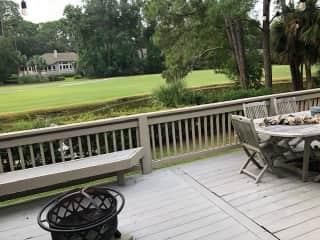 Raised deck, lagoon, golf course