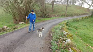 Frank and Tango on a morning walk in Asturias, Spain