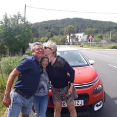 A mother and daughter showing Tony appreciation after we helped to push their car from the ditch.