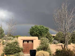 Front yard with rainbow