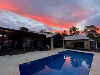 Pool and outside area to relax after coming back from the beach or bush walk just down the road