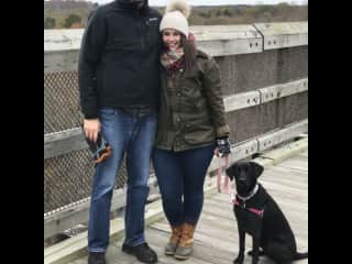 My youngest son and fiancé with their sweet dog Esti.