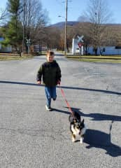 Jordan and Lucy running. Both of them have lots of energy.