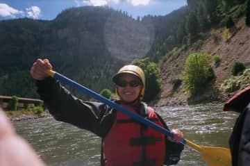 Enjoying the Colorado River rapids
