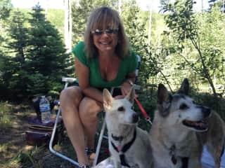 Picnic in Santa Fe, NM-me and my pups, Jac & Sam