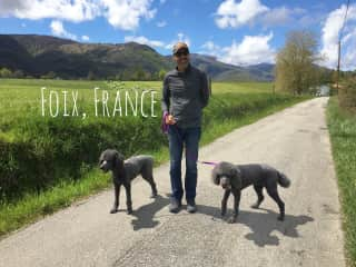 Walking sweet Laurel and Maddie in the foothills of the French Pyrenees