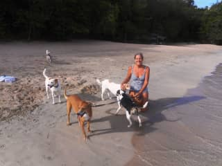 Johanne with a tribe of 5  on Bequia, Caribbean