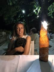 Cathy and Lucky in Italy