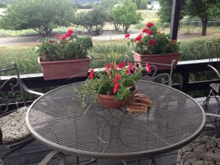 Table on Back Deck with view of Backyard