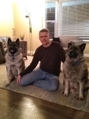 Robert and our present dogs, Loki and Rollo.