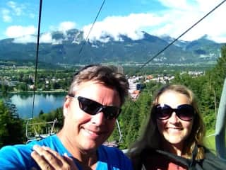 On the cable car in Bled