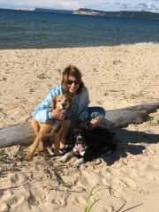 Judi and our dogs (Sammy and Iggy),  walking on Lake Michigan Beach