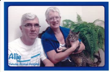 This is David and me with our cat Allie.