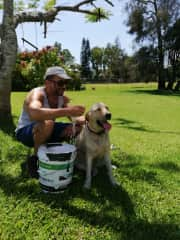 Having a cool down with Kimba in the Gold Coast, Australia