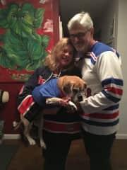 Hubby, Ula and I ready for Hockey