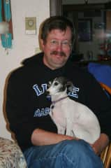 Brent with Italian Greyhound, Holly