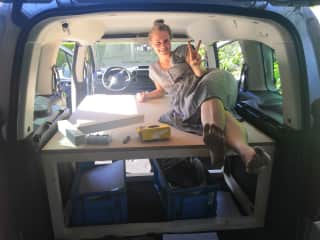 Because of Covid we were not able to take our first flights. So instead we built a bed in my mother's car and started doing housesits and volunteering in Europe!
